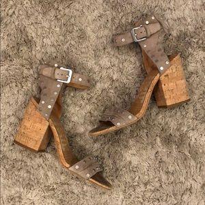 Dolce Vita Suede Studded Cork Block Heel Sandals